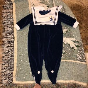 Navy and White sailor look jumpsuit.